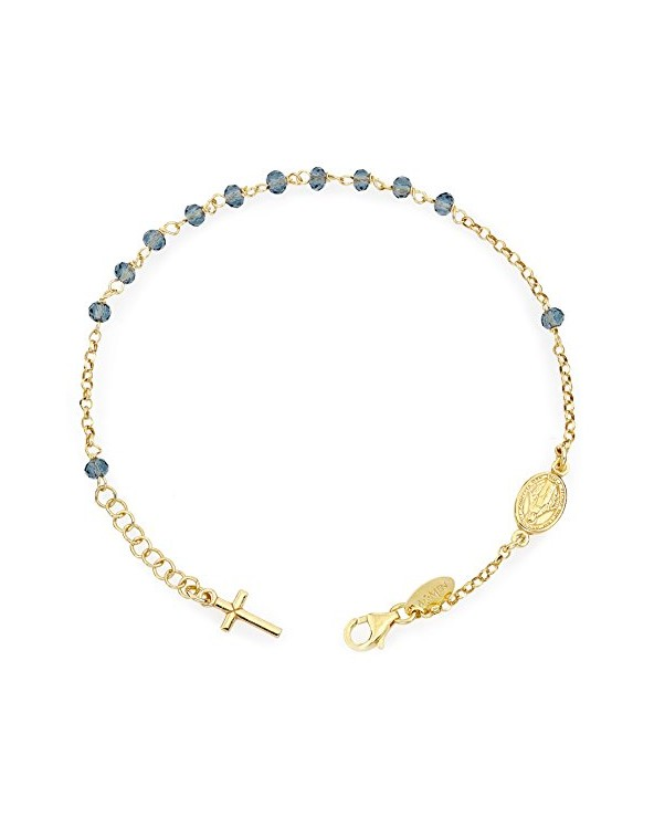 Bracciale Rosario AG925 - Cristalli Blu - Croce Charm - Amen Collection