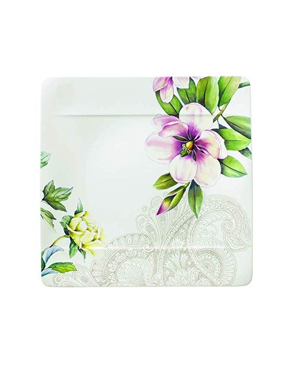Villeroy & Boch Quinsai Garden Piatto Piano, Porcellana Bone China, 27x27x9.5 cm