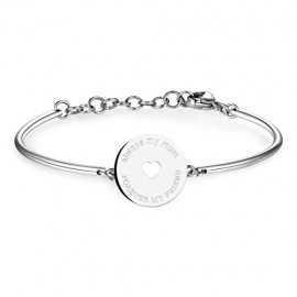 Bracciale rigido donna in acciaio con centrale I LOVE YOU MUM BROSWAY BHK41