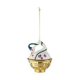 Alessi MJ16 10 Cigno di Primavera Decorazione in Porcellana, Decorata a Mano, Multicolore, Set da 4