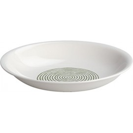 Alessi AGV31/2 Acquerello Piatto Fondo, Bone China, Bianco/Verde