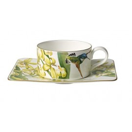 Villeroy & Boch Amazonia Tazza Te con Piatto, 2 Pezzi, Porcellana Bone China